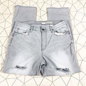 DKNY Gray Distressed Straight Leg Jeans 12
